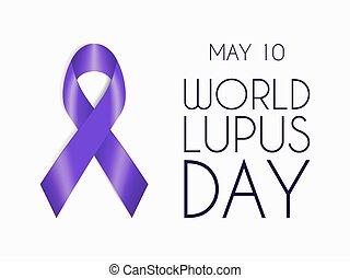 Purple ribbon isolated on white background. World Lupus Day...
