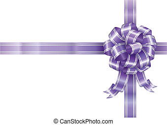 Purple Ribbon - Purple ribbon bow isolated on white...