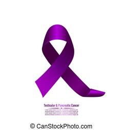 Purple ribbon symbolizing testicular and pancreatic cancer....