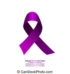 Purple ribbon symbolizing testicular and pancreatic cancer....