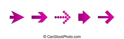 purple right arrows set. Flat icon isolated on white. Continue icon.