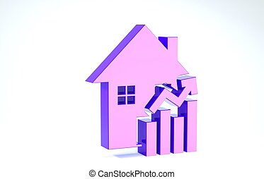 Purple Rising cost of housing icon isolated on white background. Rising price of real estate. Residential graph increases. 3d illustration 3D render