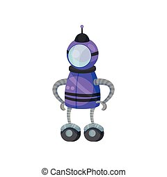 Purple robot feet with wheels. Vector illustration on white background.
