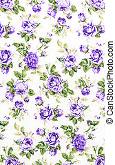 Purple Rose Fabric background, Fragment of colorful retro tapestry textile pattern with floral ornament useful as background.
