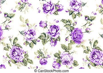 Purple Rose Fabric background, Fragment of colorful retro tapestry textile pattern with floral ornament useful as background