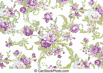 purple rose on white fabric background, Fragment of colorful retro tapestry textile pattern with floral ornament useful as background