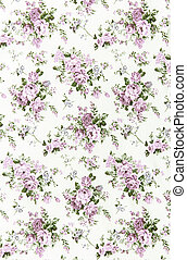 purple rose vintage on fabric background.