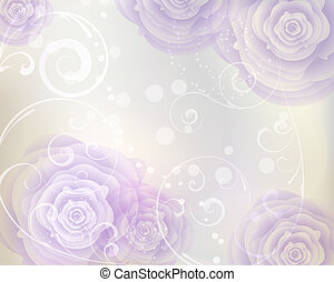 Pastel colored background with purple roses and floral swirls