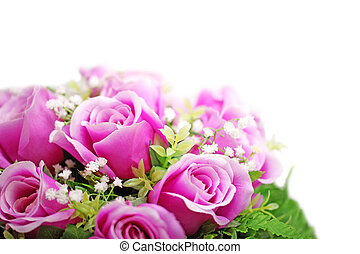 Purple roses bouquet isolated on white background.