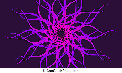 Purple rotating patterned colorful spiral, Abstract waves background.