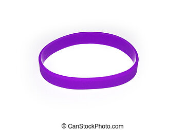 Purple rubber bracelet. Silicone fashion round social wear -...