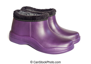 8234c412d9 Rural shoes for rainy weather - rubber galoshes isolated on white ...