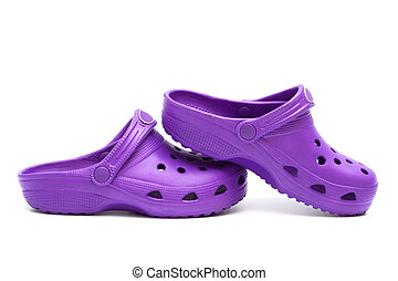 purple rubber sandals on a white background