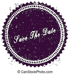 Purple SAVE THE DATE distressed stamp