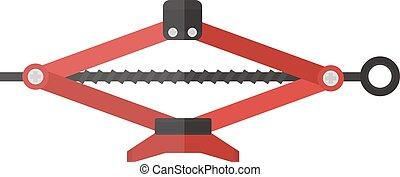 Purple scissor car jack shot steel repair auto service lift flat vector illustration on white.