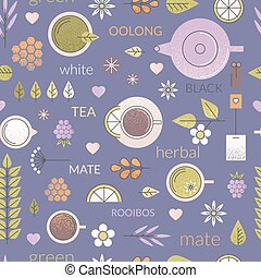 Purple seamless pattern about tea