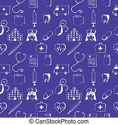 Purple seamless pattern-medical items