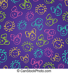 Seamless Pattern with Cute Colorful Kid Faces