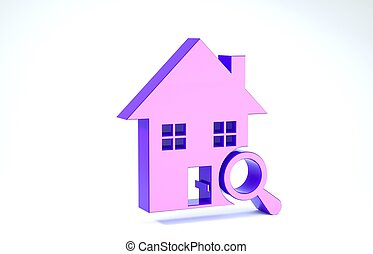 Purple Search house icon isolated on white background. Real estate symbol of a house under magnifying glass. 3d illustration 3D render