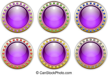 Purple Set of 6 Color Combinations Glossy Vector Buttons