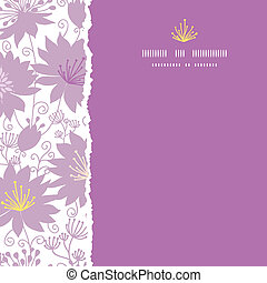 Purple shadow florals square torn frame seamless pattern background