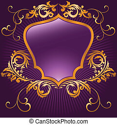 Purple shaped shield - shaped shield in a gilded frame on...