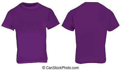 Purple Shirt Template - Vector illustration of blank purple...