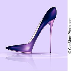 purple shoe - lilac background and the purple ladys shoe