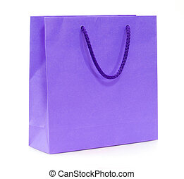 purple shopping bag isolated on a white background