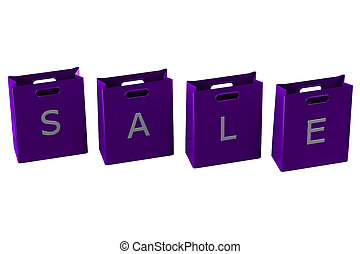 Purple shopping bags with word sale. 3D rendering.