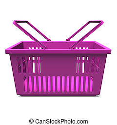 Purple Shopping Basket Front View. 3D render illustration. Isolated on White.