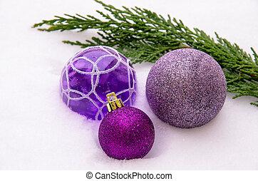 purple silver baubles
