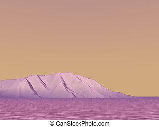 Purple skies in desert hills