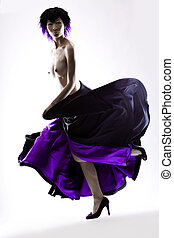 Purple skirt - Beautiful Asian fashion model in studio