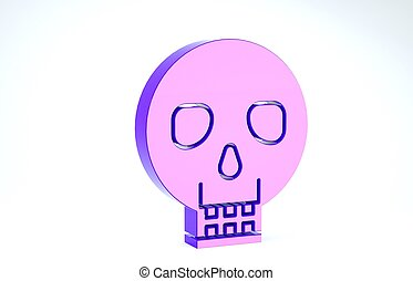 Purple Skull icon isolated on white background. Happy Halloween party. 3d illustration 3D render