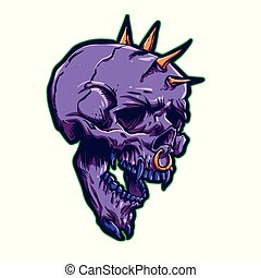 Purple skull with thorns on the head