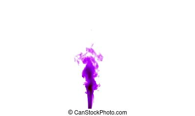 Purple smoke on white isolated