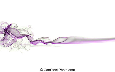 purple smoke, photo on the white background