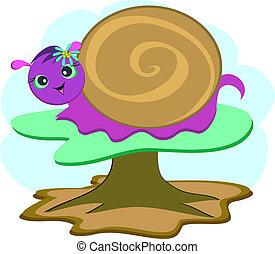 Purple Snail on a Mushroom