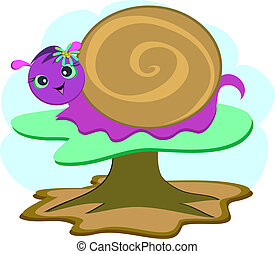 Purple Snail on a Mushroom
