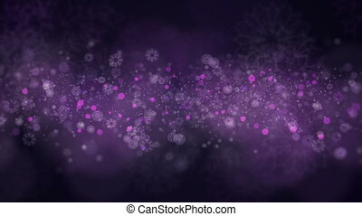 A motion of snowflakes background. Snow is slowly flying forward. Perfect to use in any motion graphics project. Computer generated seamless loop abstract background.