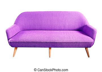 purple sofa isolated with clipping path