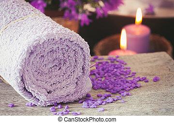 Purple spa setting