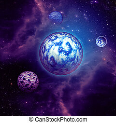 Purple space clouds and planets - Space background with...