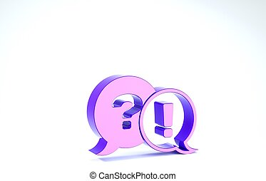 Purple Speech bubbles with Question and Exclamation icon isolated on white background. FAQ sign. Copy files, chat speech bubble and chart. 3d illustration 3D render