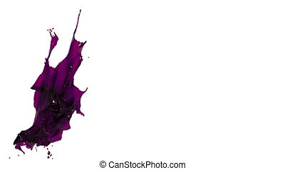 purple splash. big spilling in slow motion. oil