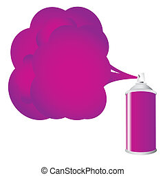 Purple spray bottle with gas cloud, vector illustration