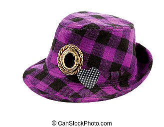 Purple squares borsalino with brooches isolated on white...