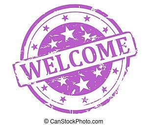 Purple stamp welcome