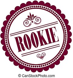 Purple stamp with ROOKIE . Illustration image concept